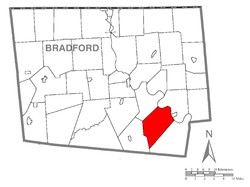 Map of Bradford County with Terry Township highlighted