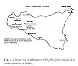 Map of Tuscan settlements in Sicily