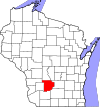 State map highlighting Sauk County