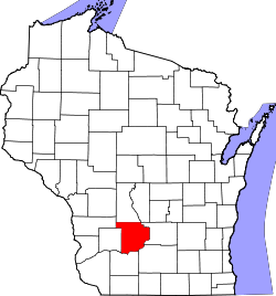 map of Wisconsin highlighting Sauk County