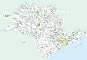 Rodovia Castelo Branco - President Castelo Branco Tollway (in red)