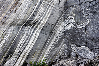 Marble - Marble wall of Ruskeala. Republic of Karelia, Russia