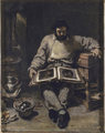 Marc Trapadoux examinant in livres d'estampes by Courbet.png