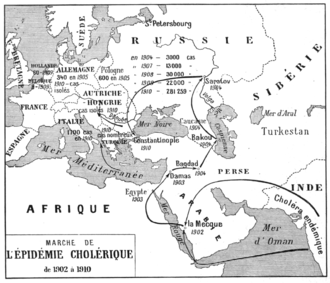 1899–1923 cholera pandemic - French map (published in 1911) showing the progress of the cholera epidemic from 1902 to 1910.