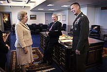 Margaret Thatcher, former Prime Minister of the United Kingdom, visits the Pentagon and shares a laugh with Secretary of Defense Donald H. Rumsfeld and Chairman of the Joint Chiefs of Staff Marine Gen. Peter Pace.