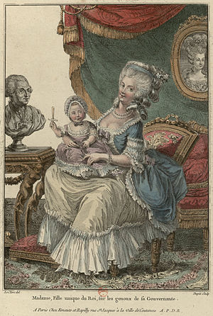 Governess of the Children of France - Engraving of Victoire de Rohan with Madame Royale overlooked by a painting of Marie Antoinette, unknown artist.