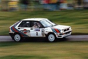 Markku Alén - Alén driving his Delta HF 4WD at the 1987 RAC Rally.