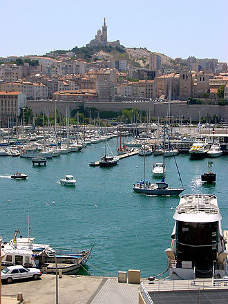 Marseille - View from Marseille's Old Port (Vieux-Port) towards Notre-Dame de la Garde.