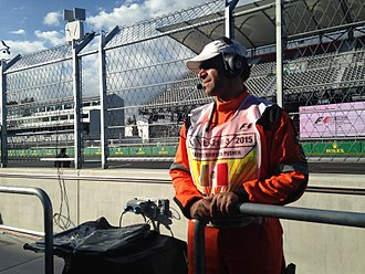Motorsport marshal - A track marshal at the 2015 Mexican Grand Prix