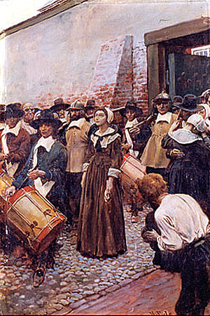 Mary Dyer - Dyer being led to the gallows in Boston in 1660, painted c. 1905