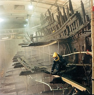 Polyethylene glycol - The remains of the 16th century carrack Mary Rose undergoing conservation treatment with PEG in the 1980s