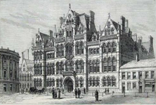 drawing of exterior of Victorian neo-gothic building