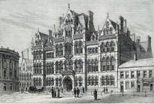 desenho do exterior do edifício neogótico vitoriano