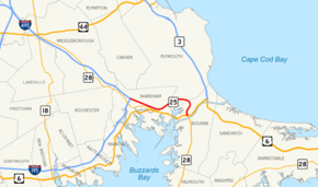 Highways in the Buzzards Bay area of southeastern Massachusetts are shown on a map. Route 25 is highlighted, running west to east for 10 miles from Interstates 195 and 495 in Wareham to Route 28 in Bourne.