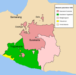 The realm of Surakarta Sunanate (red) in 1830