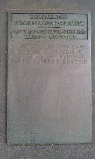 Civico Mausoleo Palanti - Image: Mausoleo Civico Palanti Targa donazione