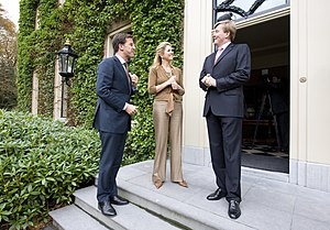 Politics of the Netherlands - Prime Minister Mark Rutte with Queen Máxima and King Willem-Alexander