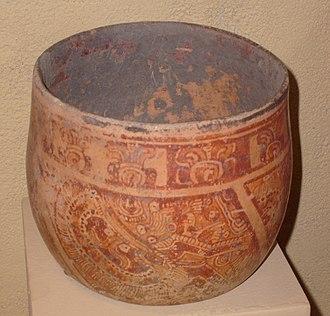 Maya ceramics - Maya vase depicting a costumed noble; burial offering. Late classical period (600-900 CE). Copán, Honduras.