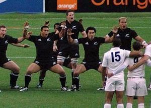 All Black Captain Richie McCaw leading the Haka