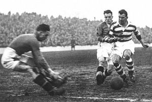 History of Celtic F.C. (1887–1994) - Jimmy McGrory (right) in action for Celtic during the 1930s.  He is the record goal-scorer in British football, with a career total of 550 goals