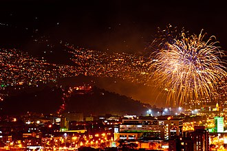 Nutibara Hill - Fireworks in Medellín, as part of Colombian Bicentennial. Nutibara Hill can be seen on the left.