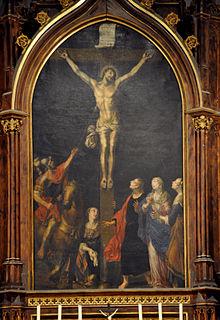 Crocifissione di Cristo, con Longino che gli trafigge il costato, da un dipinto settecentesco di Sichelbein