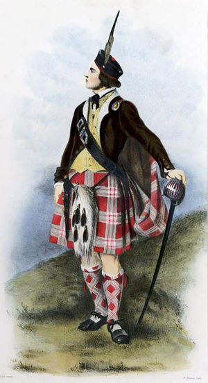 Clan Menzies - A romantic depiction of a clansman illustrated by R. R. McIan, from James Logan's The Clans of the Scottish Highlands, 1845.