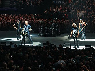 Metallica - Metallica in London, England in 2017. From left to right: Lars Ulrich, James Hetfield, Kirk Hammett and Robert Trujillo.