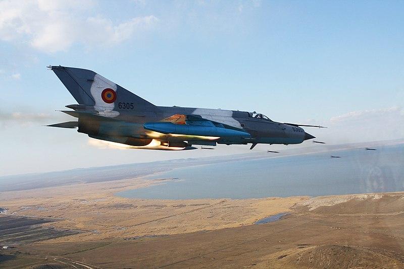 File:MiG-21 Lancer C firing rockets.jpg