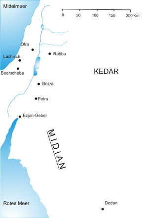 Shuaib - A map of Midian, the town where Shuʿayb was sent to prophesy