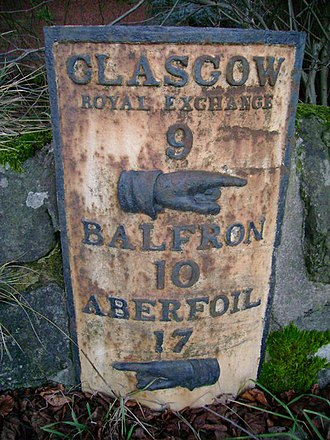 Aberfoyle, Stirling - An old milepost near Craigmaddie House. Notice the spelling of Aberfoyle.