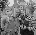 Millworkers' children stand in front of old First Lutheran Church, Germania Park, Holyoke, Massachusetts.jpg