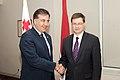 Ministru prezidents Valdis Dombrovskis tiekas ar Gruzijas Valsts prezidentu Mihailu Saakašvili (7300447228).jpg