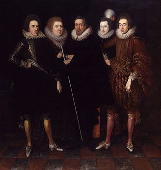Henry Carey, 2nd Earl of Monmouth - The 2nd Earl of Monmouth (left), posing with members of his family, c. 1617.