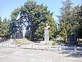 Monuments to Taras Shevchenko and to fallen soldiers of Ukrainian Galician Army in the village of Sopiv, Ukraine.jpg