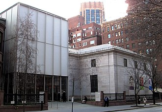 Morgan Library & Museum - The Renzo Piano-designed entrance building (2006, left) and the Benjamin Wistar Morris-designed annex building (1928, right).