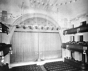 "Moscow Art Theatre - Interior of the ""Old"" MAT in Kamergersky Lane, originally Lianozov Theatre, as rebuilt in 1900-1903 by Fyodor Schechtel with contribution by Anna Golubkina and Ivan Fomin."