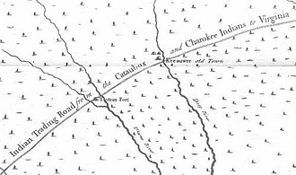 Trading Path - Excerpt of the 1733 Edward Moseley map of North Carolina, showing the Trading Path