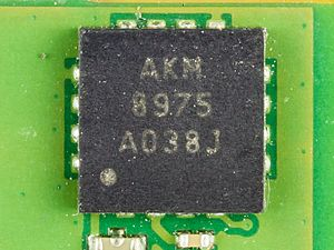 AKM Semiconductor, Inc. - Tri-axis Electronic Magnetometer, inside Motorola Xoom. Size: 4.0 mm x 4.0 mm x 0.75