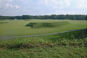 Alabama - The Moundville Archaeological Site in Hale County. It was occupied by Native Americans of the Mississippian culture from 1000 to 1450 AD.