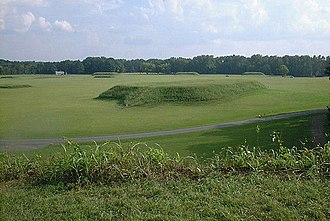 Moundville Archaeological Site - A view of the site from the top of Mound B looking toward Mound A and the plaza.