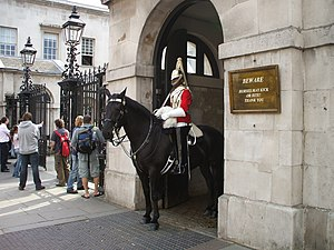 Mounted Household Cavalry at the House Guards