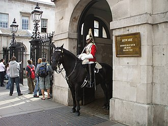 Public duties - A member of the Household Cavalry standing watch in London