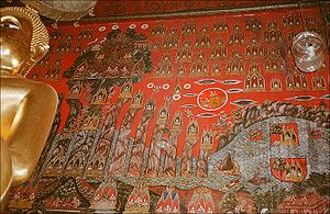 Mount Meru - A mural depicting Mt. Meru, in Wat Sakhet, Bangkok, Thailand