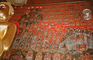 Mount Meru - A mural depicting Mt. Meru, in Wat Sakhet, Bangkok, Thailand