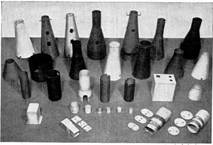 Mu-metal - Assortment of mu-metal shapes used in electronics, 1951