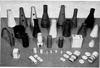 Mu-metal - Assortment of mu-metal shapes used in electronics, 1951