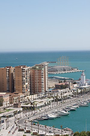 Port of Málaga - Muelle 1, (Quay 1) shopping and restaurant area.