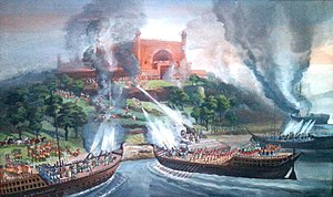Portuguese settlement in Chittagong - A painting indicating the battle between the Portuguese and the Mughals in Karnaphuli River in 1666.