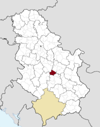 Location of the municipality of Rekovac within Serbia